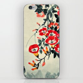 Three Chicks and Trumpet Flowers iPhone Skin