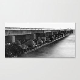 Pier black white Canvas Print