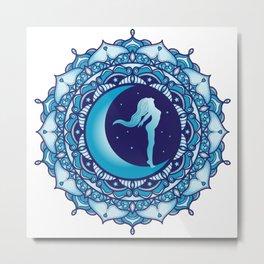 Crescent Moon Mandala Metal Print