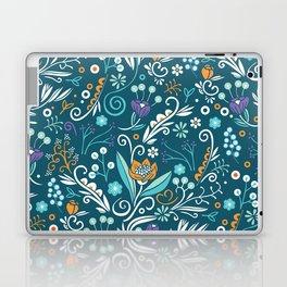 Flower circle pattern, blue Laptop & iPad Skin