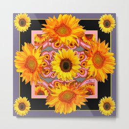 Grey-Black Geometric Sunflower Pink Art Metal Print