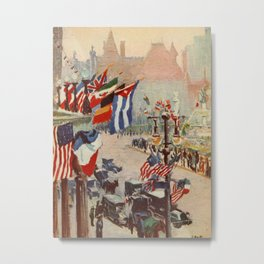 Heath, Alice - New York of Today 1917 - The Plaza at 5th Ave Metal Print