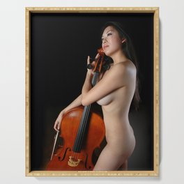 0205-JC Nude Cellist with Her Cello and Bow Naked Young Woman Musician Art Sexy Erotic Sweet Sensual Serving Tray