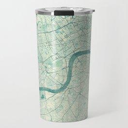 London Map Blue Vintage Travel Mug