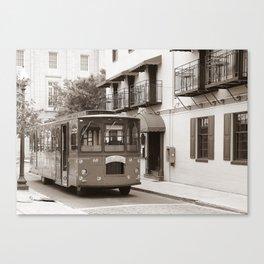 Trolley on Water Street, Wilmington NC Canvas Print