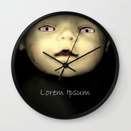 Lorem ipsum - dark doll with pink eyes, watercolor Wall Clock