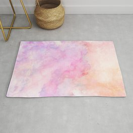 Iridescent Frozen Marble - Peach Pink & Lilac Rug