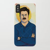 ron swanson iPhone & iPod Cases featuring Ron Swanson by Sayada Ramdial