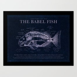 Babel Fish Anatomy (Monochrome) Art Print
