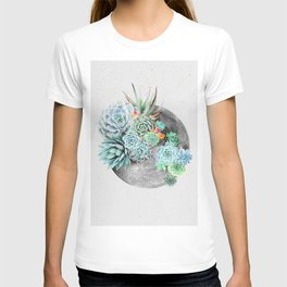 Moon, Plant, Succulent, Space, Collage, Modern, Minimal Art Print T-shirt