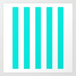 Bright turquoise - solid color - white vertical lines pattern Art Print