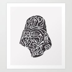 Darth Vader [Black on White] Art Print