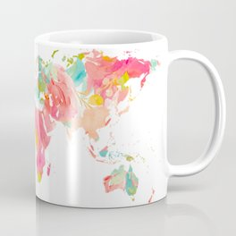 world map pink floral watercolor Coffee Mug