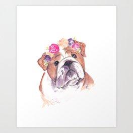 bulldog with flower crown Art Print
