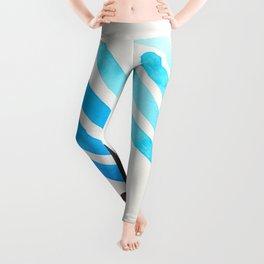 Cerulean Blue Watercolor Colorful Stripes Mid Century Modern Art Primitive Abstract Art Leggings