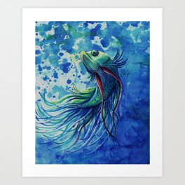 Whimsical Betta Fish Art Print