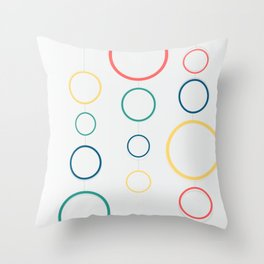 colored rings Throw Pillow