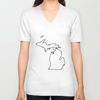 michigan V-neck T-shirts featuring Michigan by mrTidwell