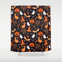 Halloween party illustrations orange, black Shower Curtain