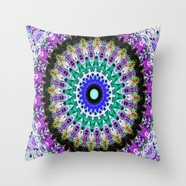 Lovely Healing Mandalas in Brilliant Colors of  violet, purple, green, blue, teal, white, yellow Throw Pillow