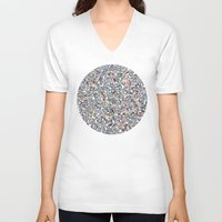 bedding V-neck T-shirts featuring Navy Garden - floral doodle pattern in cream, dark red & blue by micklyn