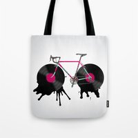 bicycle Tote Bags featuring bicycle by mark ashkenazi