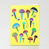 mushrooms Stationery Cards featuring Mushrooms  by Ashley Percival illustration