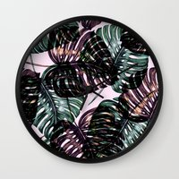 leaf Wall Clocks featuring Leaf by Burcu Korkmazyurek