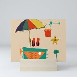 fish at the beach Mini Art Print