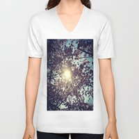 cherry blossoms V-neck T-shirts featuring Cherry Blossoms by Julia Blanchette