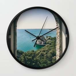 Italy Photography - Turquoise Water Seen Through A Beautiful Arch Wall Clock