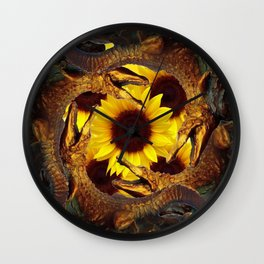 """""""UP TO MY BUTT"""" IN ALLIGATORS  GOLD ART Wall Clock"""