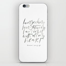 Vincent VanGough Quote: I am seeking / I am striving / I am in it with all my heart iPhone Skin