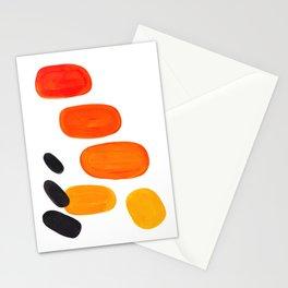 Mid Century Modern Colorful Minimal Pop Art Yellow Orange Ombre Rainbow Gradient Pebble Ovals Stationery Cards