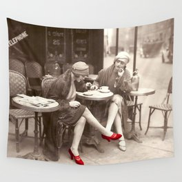 New Red Shoes Vintage Paris Photo Wall Tapestry