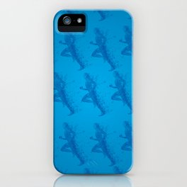 Watercolor running man silhouette background in blue color pattern iPhone Case