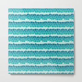 Mosaic Stripes, Turquoise, Blue, Mint Metal Print