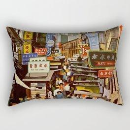 Vintage Hong Kong Travel Poster Rectangular Pillow