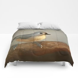 Winter Tufted Titmouse Comforters