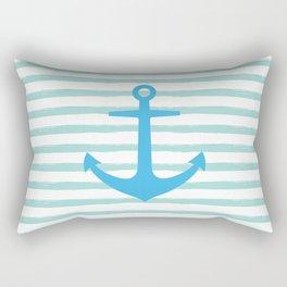Anchor & Stripes - Mint / Blue Rectangular Pillow