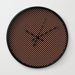 Black and Copper Tan Polka Dots Wall Clock