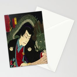 Dragon with a Warrior in Japan wood print Stationery Cards
