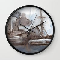 boats Wall Clocks featuring Boats by Marine Koprivnjak