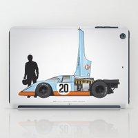 steve mcqueen iPad Cases featuring Outline Series N.º4, Steve McQueen, Porsche 917, Le Mans movie 1971 by Ricardo Santos