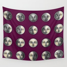 moon phases on dark purple Wall Tapestry