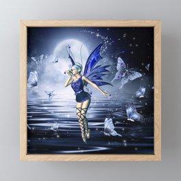 Blue Fairy and Butterflies Framed Mini Art Print