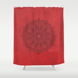 Black Mandala on Red Stains Background Shower Curtain