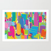 cityscape Art Prints featuring Cityscape by Glen Gould