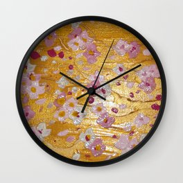 Cherry Blossoms on Gold Wall Clock
