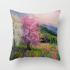 Spring in the Carpathians Throw Pillow